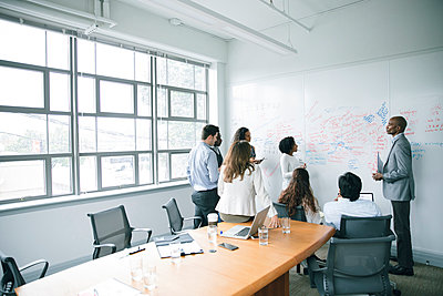 Business people talking near whiteboard in meeting - p555m1504092 by John Fedele