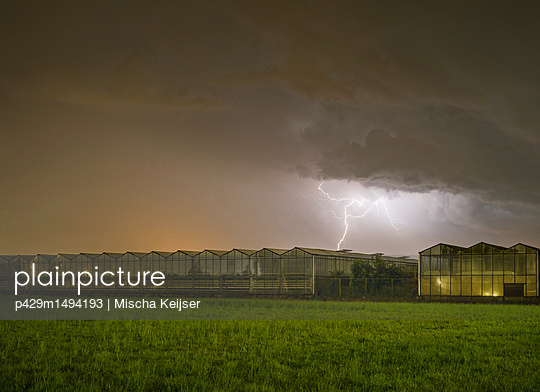 Thunderstorm over greenhouse, Rith, Noord-Brabant, Netherlands