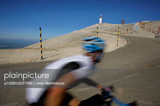 Riding up the Mont Ventoux, ' The Giant of Provence ', France - p1028m2237586 by Jean Marmeisse