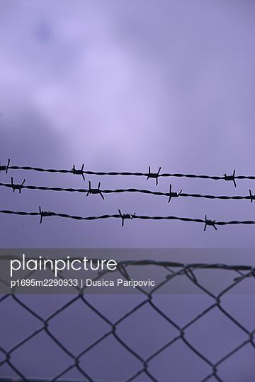 Fence against gloomy sky - p1695m2290933 by Dusica Paripovic