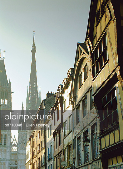 Timbered houses and the Cathedral, Rouen, Haute Normandie (Normandy), France - p8710048 by Ellen Rooney