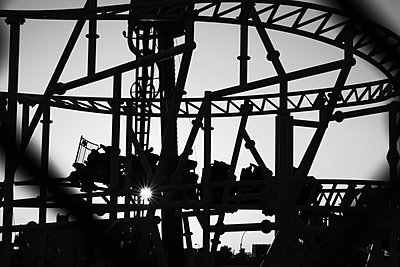 Silhouette roller coaster - p301m960813f by Michael Mann