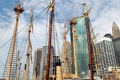 Historic Ship Masts, South Street Seaport, New York City - p5690122 by Jeff Spielman