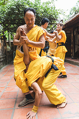 Vietnam, Hanoi, men exercising kung fu - p300m2013205 von William Perugini