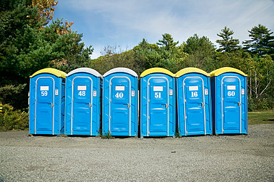 Portable Toilets In Rural Setting; Canada - p442m861406f by Benjamin Rondel