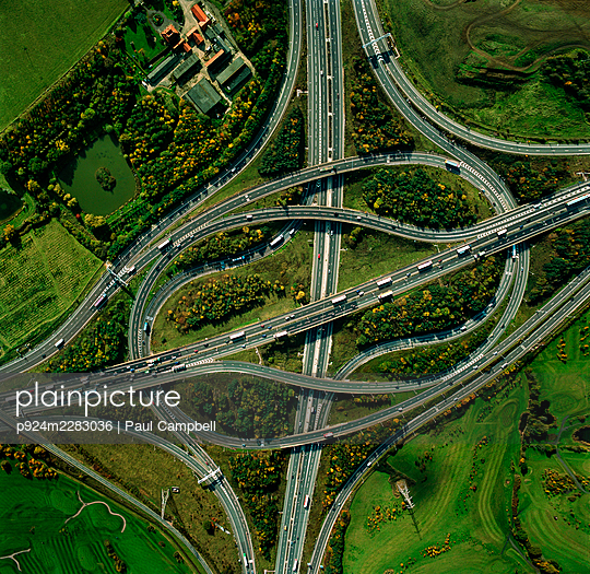 UK, Essex, Intersection of M25 and M11 motorways - p924m2283036 by Paul Campbell