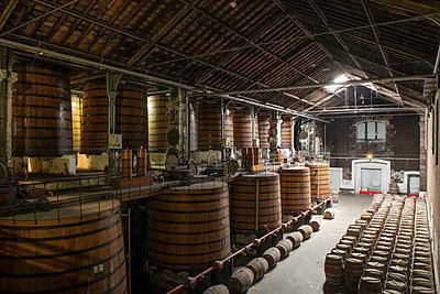 Barrels in winery cellar - p1216m2260539 von Céleste Manet