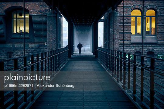 People on a foot bridge - p1696m2292971 by Alexander Schönberg