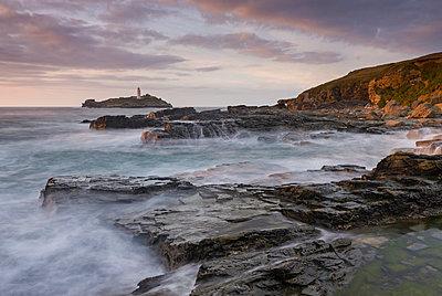 Rocky coast near Godrevy Lighthouse, St. Ives Bay, Cornwall, England, United Kingdom, Europe - p871m1017464 by Adam Burton