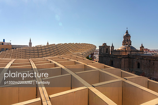 View of Metropol Parasol and a cathedral, Sevilla, Spain - p1332m2203282 by Tamboly