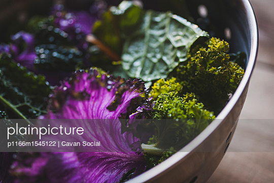 Close-up of chard and kale in colander - p1166m1545122 by Cavan Social