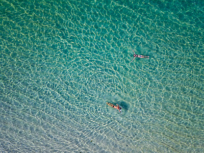 Indonesia, Bali, Melasti, Aerial view of Karma Kandara beach - p300m2042552 by Konstantin Trubavin