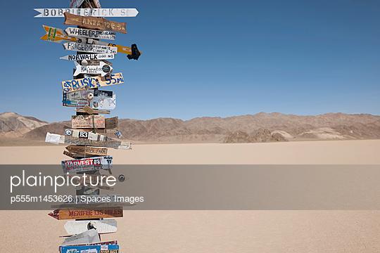 Signpost in desert