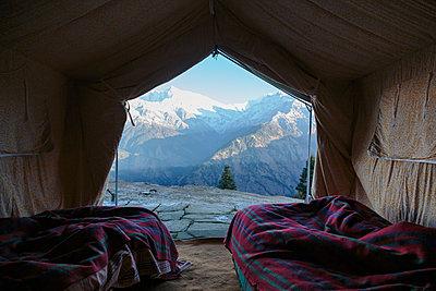 Yurt with scenic mountain view, Jaikuni, Indian Himalayan Foothills - p1023m2024403 by Martin Barraud