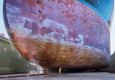 Ship in the dry dock, maintenance works - p390m2209193 by Frank Herfort