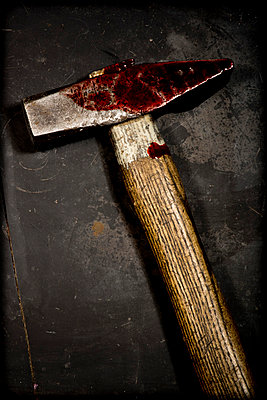 Hammer with blood - p451m814745 by Anja Weber-Decker