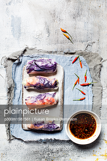 Vegan rice paper wraps (vietnamese summer rolls), filled with cabbage, carrots, bell pepper, rice noodles, and dipping sauce - p300m1587561 von Susan Brooks-Dammann
