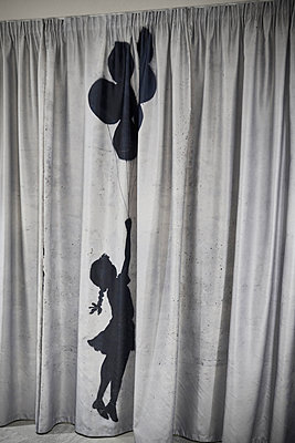Girl silhouette on curtain - p390m1441306 by Frank Herfort