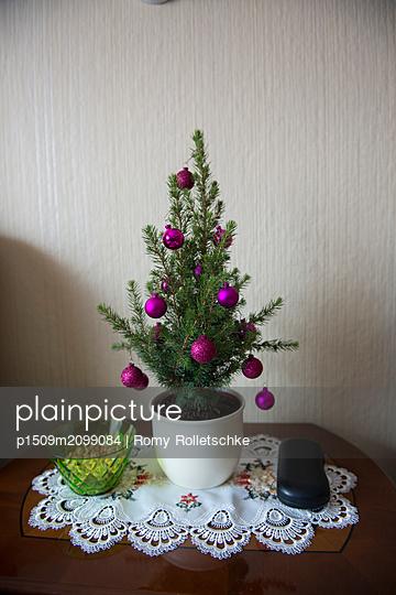 Kleiner Weihnachtsbaum mit Christbaumkugeln - p1509m2099084 von Romy Rolletschke