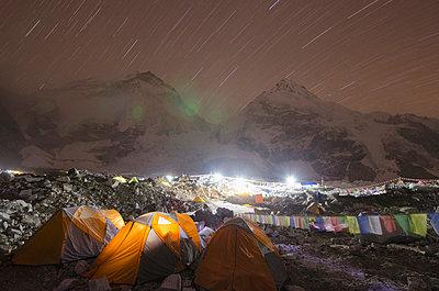 Tents at Everest Base Camp at night, Solu Khumbu Everest Region, Sagarmatha National Park, UNESCO World Heritage Site - p871m819468 by Christian Kober