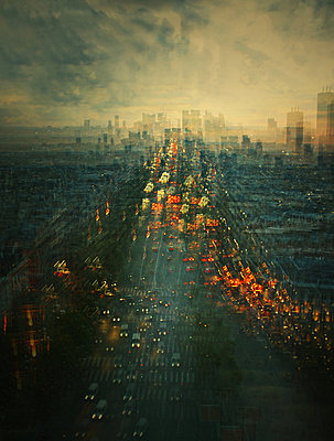 Rush hour, Paris, aerial view, multiple exposure - p1640m2245935 by Holly & John