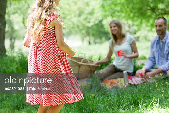 Girl having picnic with parents outdoors, rear view