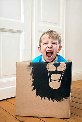 Roaring boy inside a cardboard box painted with a lion - p300m1450260 by Petra Stockhausen