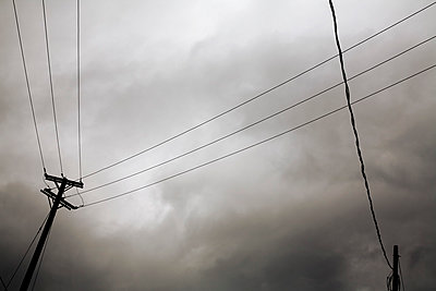 Hydro Lines And Stormy Sky - p442m905625 by Benjamin Rondel