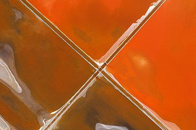 Aerial view of colorful salt lake - p1596m2192874 by Nikola Spasov