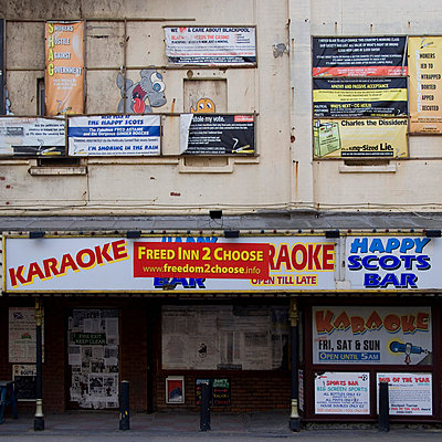 Derelict shop fronts in Blackpool, Lancashire, North West England, UK. - p855m664577 by Mike Burton