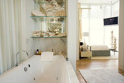 Luxury hotel bathroom with large bathtub - p6242997f by Frederic Cirou