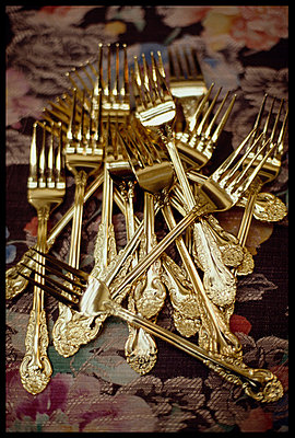Pile of ornate forks - p3720162 by G A Weitz