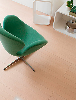 Modern Green Easy Chair And Shelf Detail, Overhead View - p307m660310f by AFLO