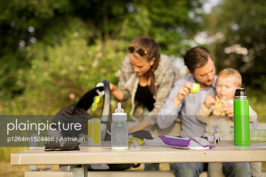 Family by picnic table - p1264m1524466 by Astrakan