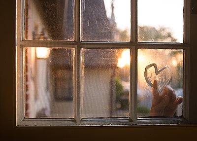 Heart on Window  - p1503m2015942 by Deb Schwedhelm