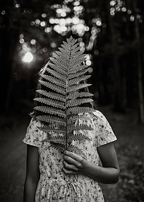 Girl with Fern - p1503m2015919 by Deb Schwedhelm