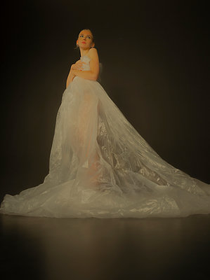 Woman wearing plastic dress - p1508m2220136 by Mona Alikhah