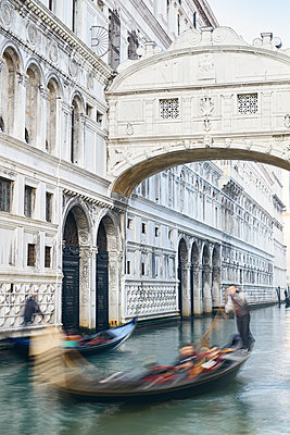Bridge of Sighs and two gondolas - p1312m2082165 by Axel Killian