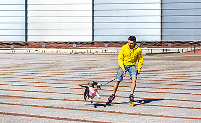 Inline-skater playing with his bull terrier - p300m1140770 by Marco Govel