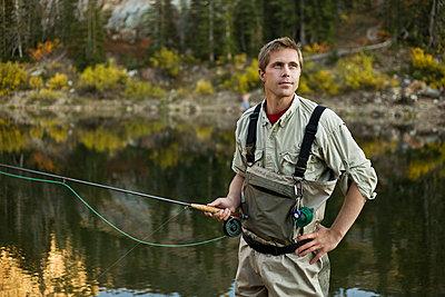 A man fly fishing - p3018682f by Edward McCulloch