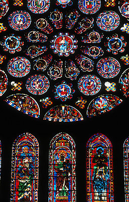 Ornate stained glass windows - p4421332f by Design Pics