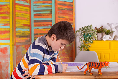 Boy drawing at table, indoors. - p1166m2165846 by Cavan Images