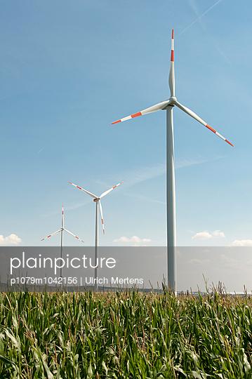 Windräder im Maisfeld - p1079m1042156 von Ulrich Mertens