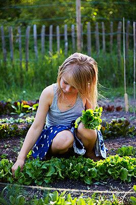 Girl in garden - p312m2091993 by Anna Kern