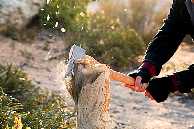 person swinging axe into wood stump - p1166m2157063 by Cavan Images