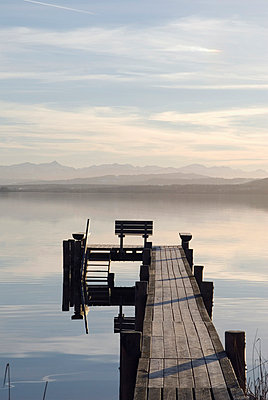 Germany, Bavaria, Ammersee, landing stage - p3005072f by Ulrich Matuschowitz