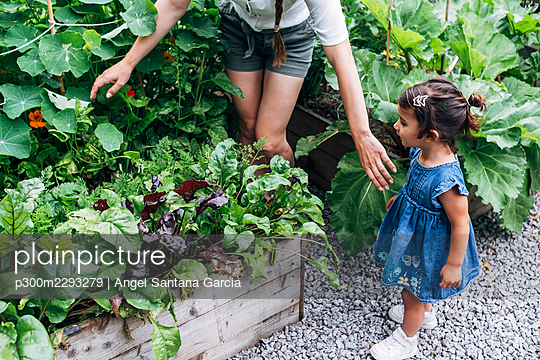 Mother searching while standing with daughter at vegetable garden - p300m2293279 by Angel Santana Garcia