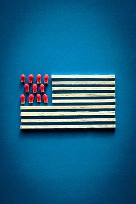 Representation of the Stars and Stripes flag, made of matches with heads cut off - p1302m2122524 by Richard Nixon
