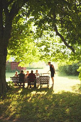 Family having meal in garden - p312m970024f by Johan Ödmann