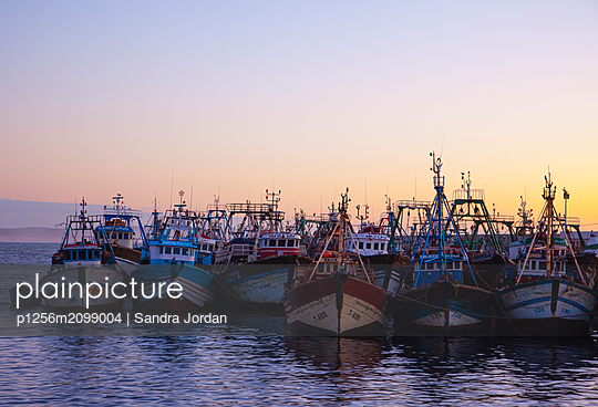 Boats in Essaouira - p1256m2099004 by Sandra Jordan